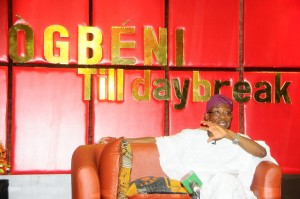 "Governor State of Osun, Ogbeni Rauf Aregbesola answering questions during the 4th edition of ""Ogbeni Till Day Break"