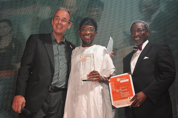From left,  President,UN World Summit Awards , Professor Peter Bruck , Governor State of Osun , Ogbeni Rauf Aregbesola , Mr. Foluso Phillps , Chairman/CEO, Phillips Consulting , Management Consultant Company for Opon Imo *at the presentation of the World Summit Awards for Opon Imo at WSA Global Congress in Sri Lanka Saturday night