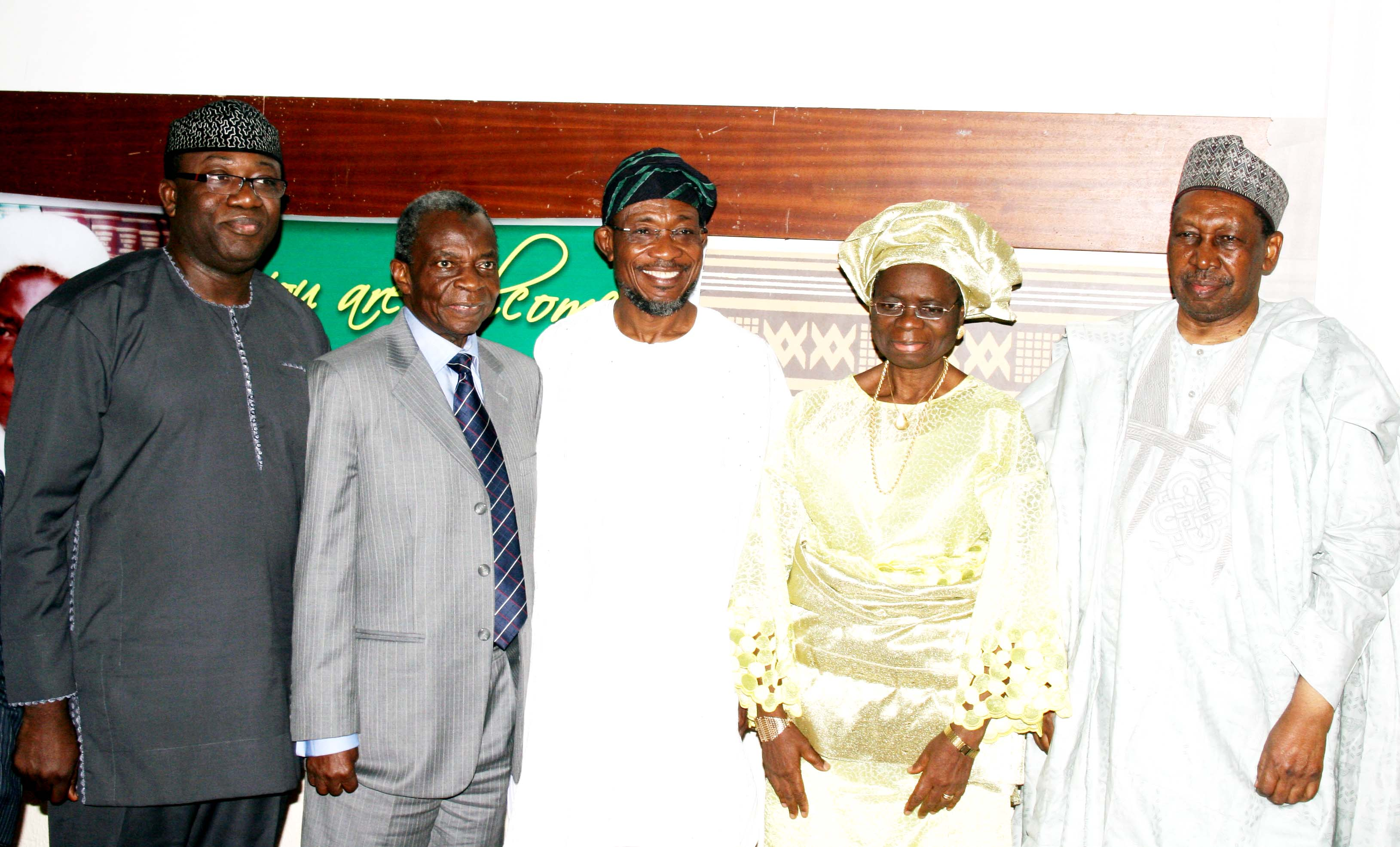 From Left –Governor Ekiti State; Dr. Kayode Fayemi, Honourable Justice Isa Ayo Salami; Governor State of Osun, Ogbeni Rauf Aregbesola; Justice Ayo Salami's wife, Olayinka  and former Chief Justice of Nigeria; Hon.Justice Muhammad Lawal Uwais, during a Book Presentation, titled:  Isa Ayo Salami: Through Life and Justice in Honour of Honourable Justice Isa Ayo Salami, at Nicon Luxury Hotel, Garki Area 8, Abuja on Wednesday 30th