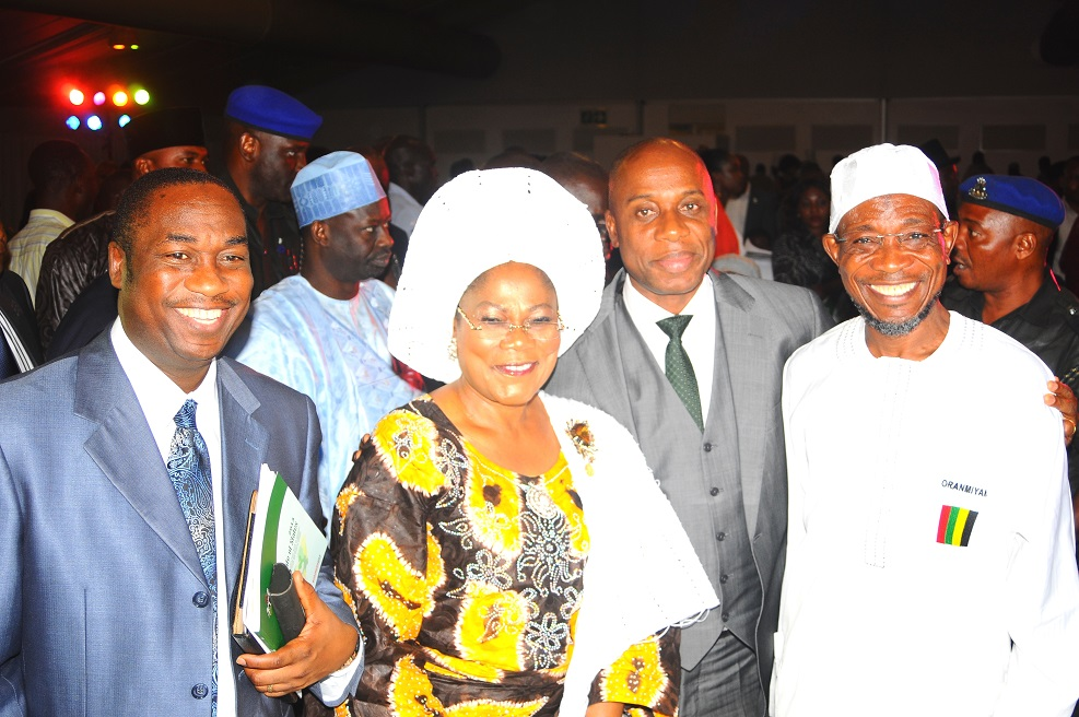 From right, Governor State of Osun, Ogbeni Rauf Aregbesola; his River State counterpart, Rotimi Ameachi; Deputy Governor State of Osun, Mrs Titi Laoye-Tomori and Lagos State Commissioner for works and infrastructure, Dr Obafemi Hamzat, during the presentation of Best Governor in Urban and Rural Development Best Governor in Youth and Sports Development Award  on Governor Aregbesola at Businessday States Competitiveness and Good Governance Awards 2013, at Federal Palace Hotel Victoria Island, Lagos State on Wednesday 13-11-2013