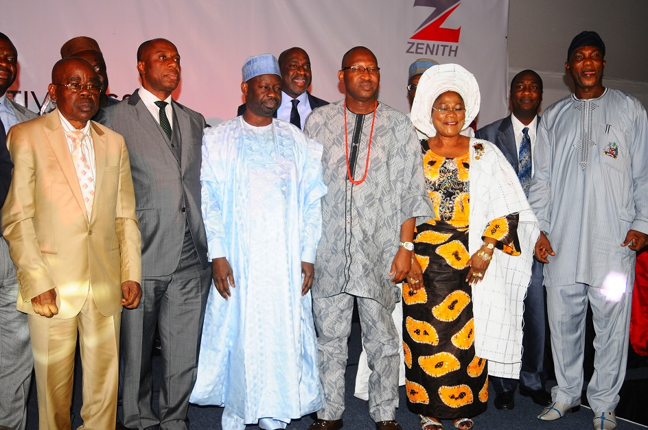 Deputy Governor State of Osun, Mrs Titi Laoye-Tomori (2nd right); River State Governor, Rotimi Ameachi (2nd left); his Gombe State counterpart, Dr Ibraheem Dankwambo (3rd left); Deputy Governor Abia State, Sir Emeka Ananaba (left); Secretary to the State Government of Osun, Alhaji Moshood Adeoti (right); Chief of Staff Edo State, Honourable Patrick Obahiagbon (3rd right) and others, during the presentation of Best Governor in Urban and Rural Development Best Governor in Youth and Sports Development Award  on Governor Aregbesola at Businessday States Competitiveness and Good Governance Awards 2013, at Federal Palace Hotel Victoria Island, Lagos State on Wednesday 13-11-2013