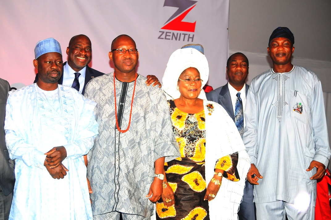 From right, Secretary to the State Government of Osun, Alhaji Moshood Adeoti; Deputy Governor State of Osun, Mrs Titi Laoye-Tomori; Chief of Staff Edo State, Honourable Patrick Obahiagbon; Gombe State Governor, Dr Ibraheem Dankwambo and others, during the presentation of Best Governor in Urban and Rural Development Best Governor in Youth and Sports Development Award  on Governor Aregbesola at Businessday States Competitiveness and Good Governance Awards 2013, at Federal Palace Hotel Victoria Island, Lagos State on Wednesday 13-11-2013