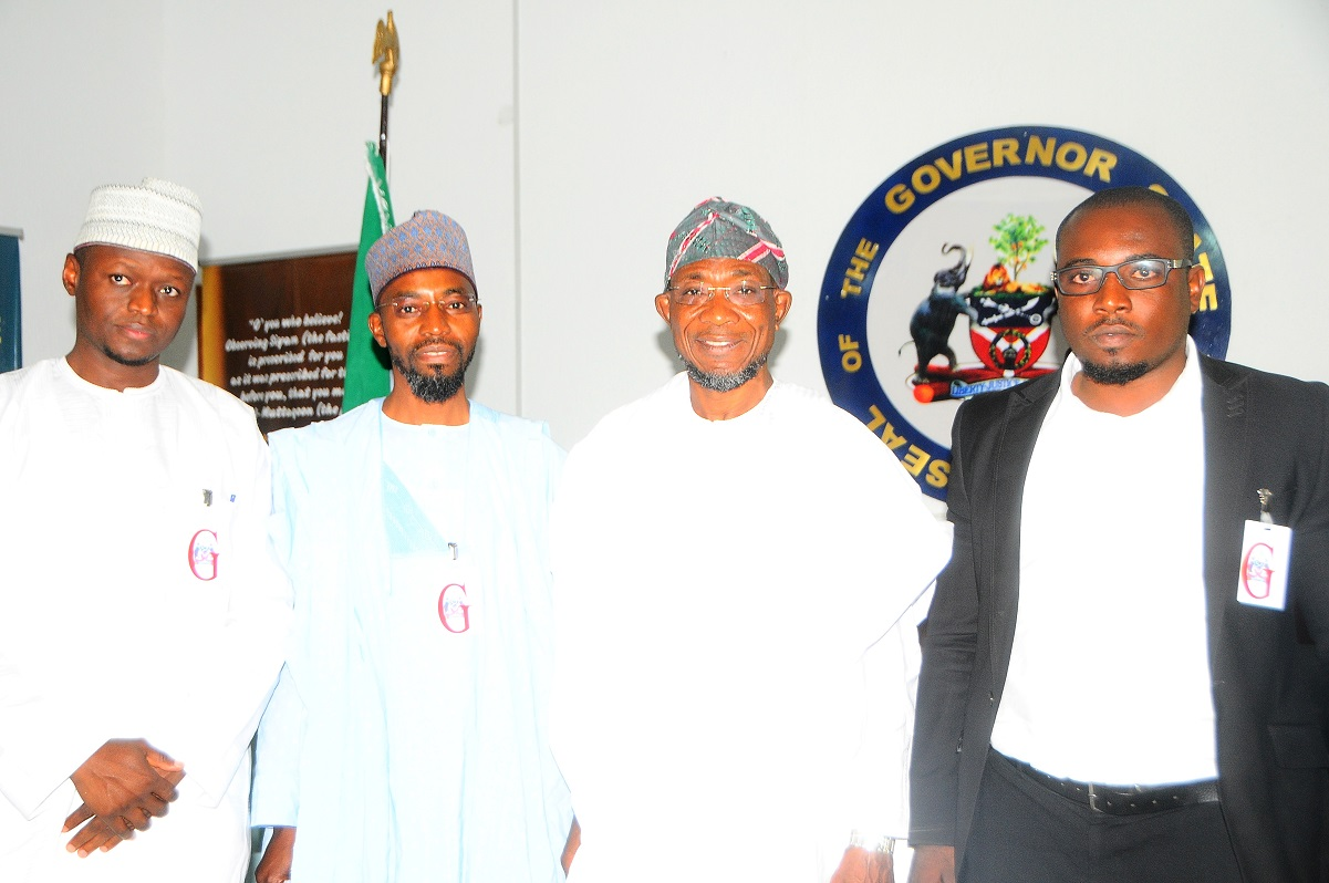 Governor State of Osun, Ogbeni Rauf Aregbesola (2nd right); Acting Managing Director, Jaiz Bank Plc, Hassan Usman (2nd left); Head, Corporate and Retail Banking*, *Jaiz Bank Plc, Alhassan Abddulkarim (left) and Corporate Banking*, *Jaiz Bank Plc, Azeez Oyegunle, during a Courtesy Visit to the Governor in Osogbo, the State of Osun at the weekend