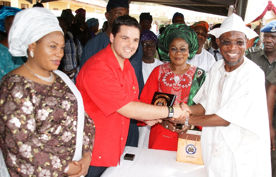 From right, Governor State of Osun, Ogbeni Rauf Aregbesola; his Deputy, Mrs Titi Laoye-Tomori; Minister Counselor, Embassy of the Bolivarian Republic of Venezuela, Miguelangel Vecchia and wife of the Governor, Alhaja Sherifat Aregbesola, at the Distribution of free Education Materials by the Venezuelan Ambassador in the Country  to Students in Public Schools, commemorating 3rd years Anniversary of Aregbesola's Administration,  at Anthony Udofia Elementary School, Osogbo, State of Osun on Wednesday 27-11-2013