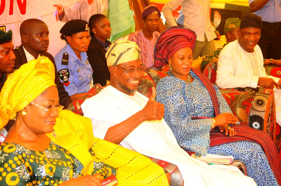 "From left, Deputy Governor State of Osun, Mrs Titi Laoye-Tomori; Governor, Ogbeni Rauf Aregbesola; his wife, Sherifat; Secretary to the State Government, Alhaji Moshood Adeoti and others, during the 5th edition of an interactive programme between the Public and the Governor, tagged, ""Gban-gba Dekun"" in Boripe/Ifelodun and Odo-Otin Federal Constituency, at Akin-Orun Grammar School, Ikirun the State of Osun on Tuesday 19-11-2013"