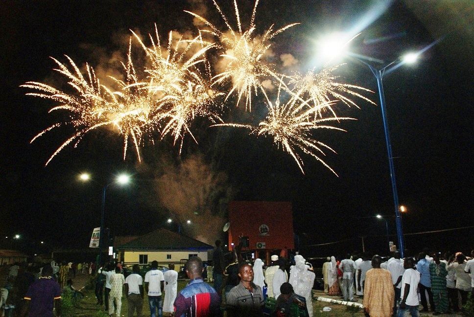 Muslim faithfuls witnessing the fireworks organised by Governor Rauf Aregbesola's administration, during the celebration of New Islamic Calendar Year (Hijrah 1435), held at Freedom Park, Osogbo, State of Osun on Sunday evening 03-11-2013