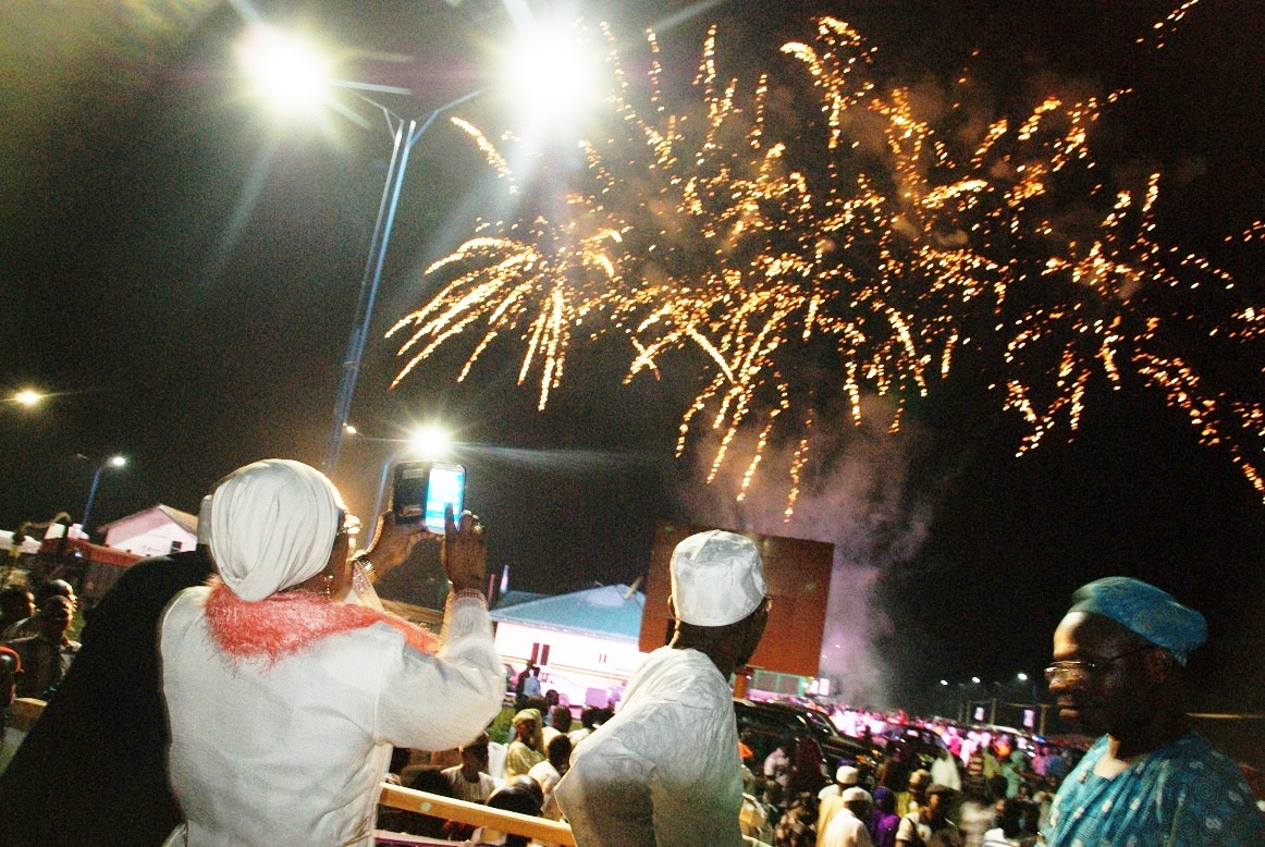 Governor State of Osun, Ogbeni Rauf Aregbesola; his deputy, Mrs Titi Laoye-Tomori and other Muslim faithful, watching fireworks, organised by the State Government, during the celebration of New Islamic Calendar Year (Hijrah 1435), held at Freedom Park, Osogbo, State of Osun on Sunday evening 03-11-2013