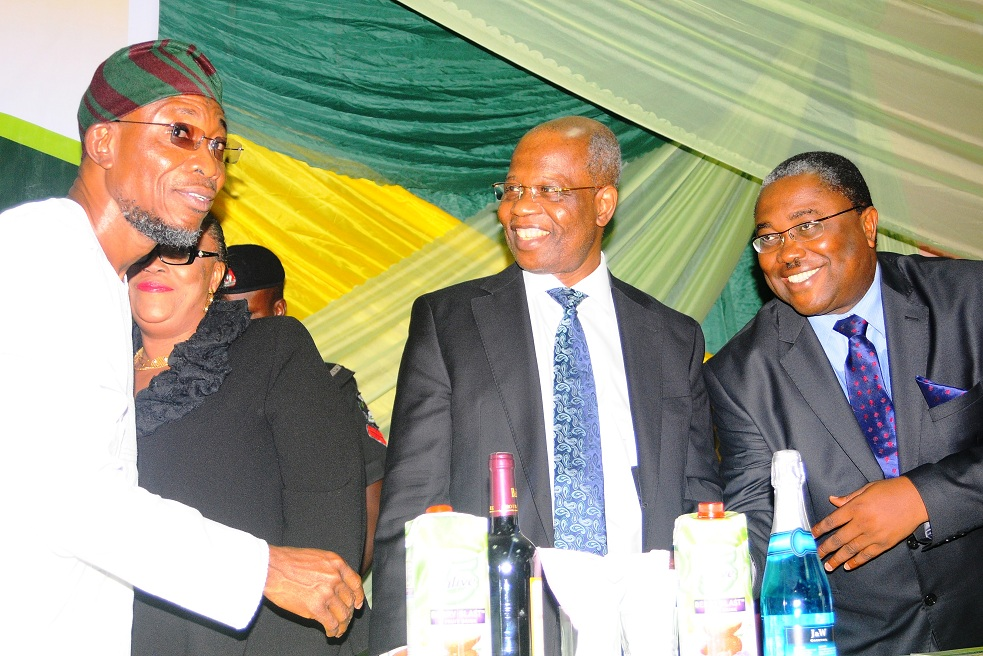 Governor State of Osun, Ogbeni Rauf Aregbesola; President, Customary Court of Appeal, Justice Glorial Olagoke; Chairman on the occasion, Chief Felix Fagbohungbe (SAN) and National 1st Vice President, Nigerian Bar Association, Chief Osas Erhabor, representing NBA president, at the annual Sapara Williams Memorial Law Week, at Kings Centre, Ilesa, State of Osun on Tuesday 26-11-2013