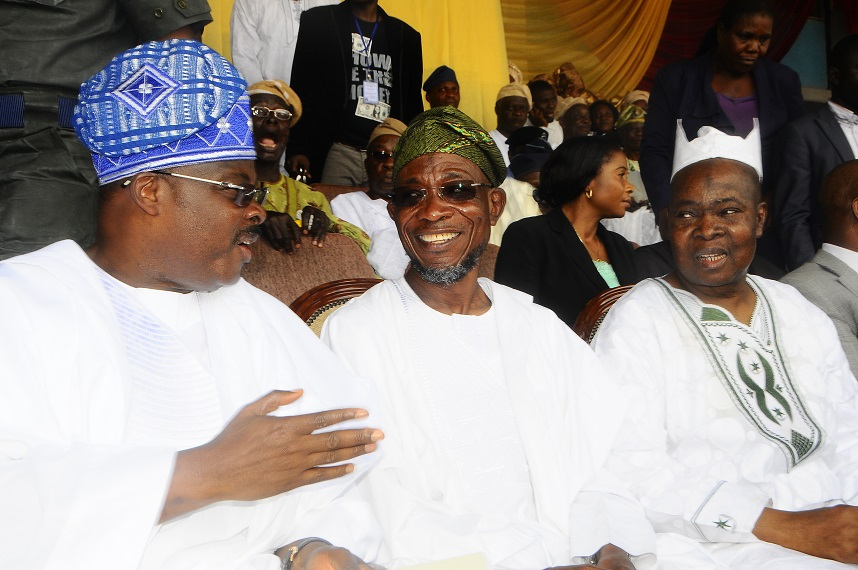 From Right *- Former Governor Lagos State, Asiwaju Bola Tinubu, Aare Muslim of Yoruba land, Alhaji Arisekola Alao, Governor State of Osun, Ogbeni Rauf Aregbesola and Oyo State Governor, Senator Abiola Ajimobi during the one year remembrance of the former Governor of Oyo State, Late Alhaji Lamidi Adesina at Lekan Salami Stadium, Adamasingba Ibadan, Oyo state on Monday 11/11/2013.