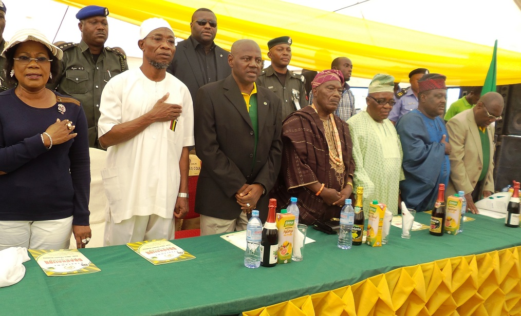 From left, State of Osun Deputy Governor, Mrs Titi Laoye-Tomori; Governor Aregbesola; Group Managing Director, Odua Investment Company, Alhaji Adbayo Jimoh ; Dr. Issac Akintade, representing Ondo State; Alhaji Tajudeen Bello, representing Ogun State; Chief Olajumoke Ogunkeyede, representing Osun and Executive Director of Odua Investment, Alhaji Niyi Badmus, at the graduation ceremony of Osun-Odua Farmers Academy at Ede in the State of Osun on Thursday 28-11-2013