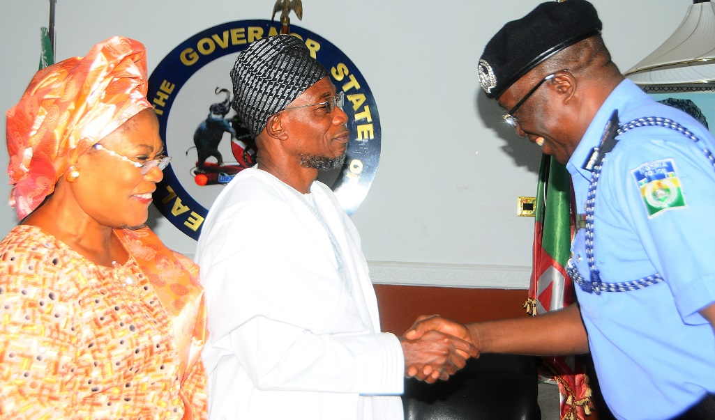 From left* - Deputy Governor State of Osun, Mrs Titi Laoye-Tomori; Governor, Ogbeni Rauf Aregbesola and Assistant Inspector General of Police Zone 11, Mr David Omojola during a Courtesy visit by the AIG to the Governor at Government house Osogbo, on Friday 6/12/2013