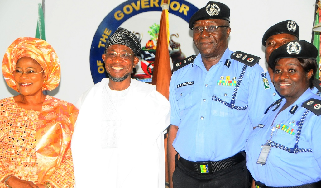 *From left* - Deputy Governor State of Osun, Mrs Titi Laoye-Tomori; Governor, Ogbeni Rauf Aregbesola; Assistant Inspector General of Police Zone 11, Mr David Omojola and State Commissioner of  Police, Mrs Dorothy Gimba, during a Courtesy visit by the AIG to the Governor at the Government house Osogbo, on Friday 6/12/2013