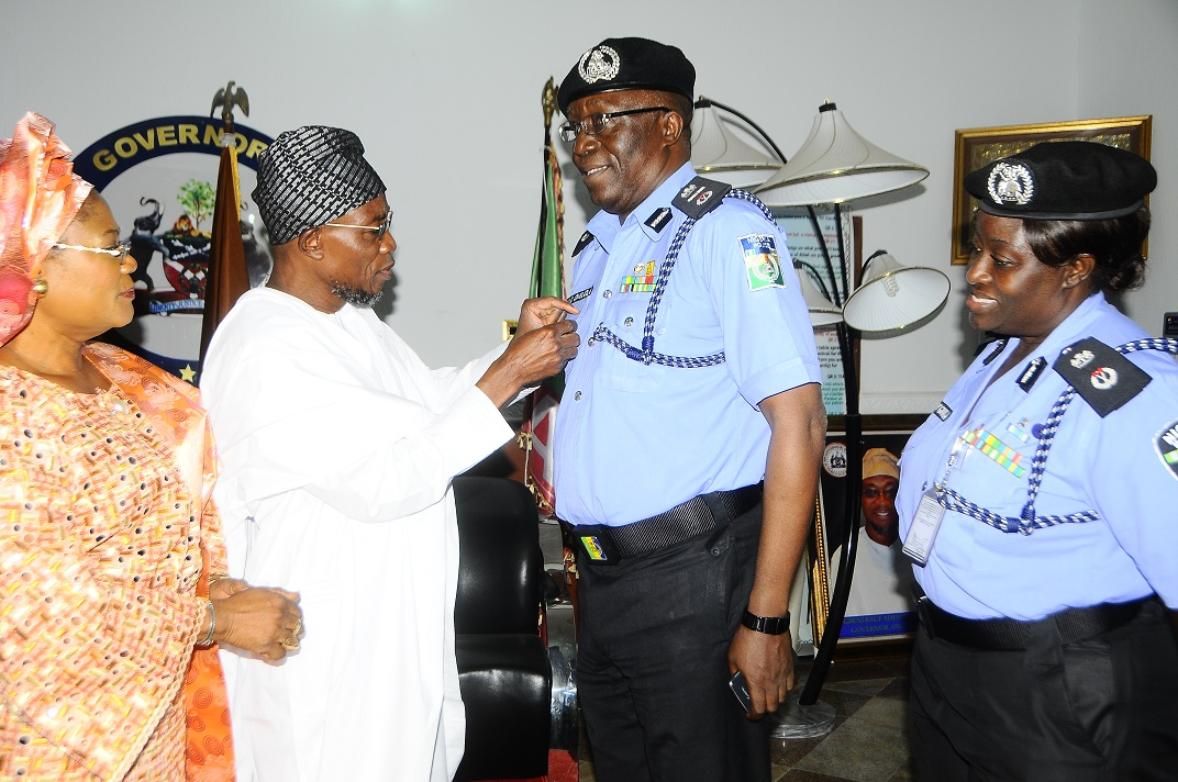 From left* - Deputy Governor State of Osun, Mrs Titi Laoye-Tomori; Governor, Ogbeni Rauf Aregbesola; Assistant Inspector General of Police Zone 11, Mr David Omojola and State Commissioner of  Police, Mrs Dorothy Gimba, during a Courtesy visit by the AIG to the Governor at Government house Osogbo, on Friday 6/12/2013