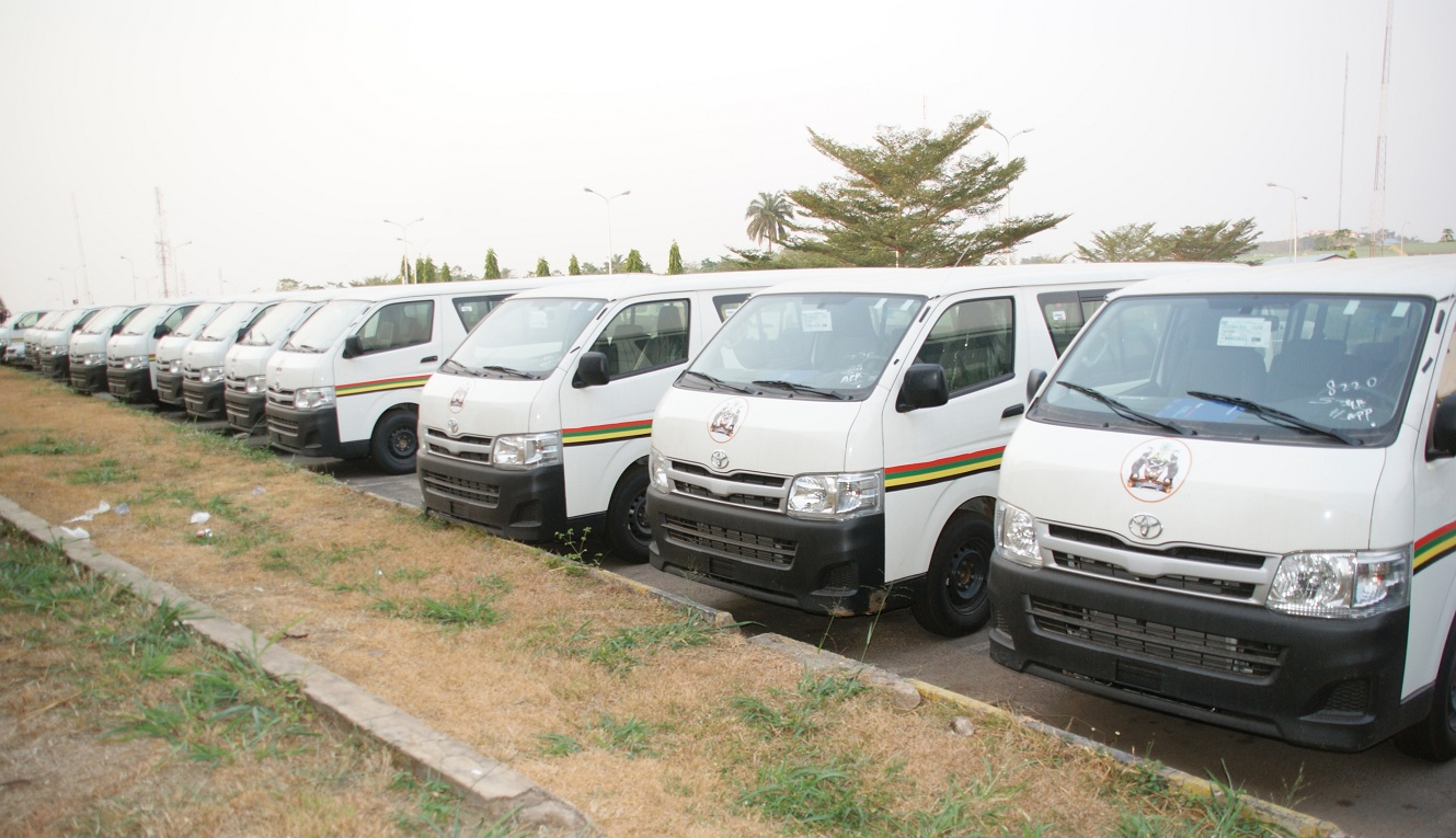 Some of the 70 Vehicles (18 sitter Toyota Commuter Bus) to members of the National Union of Road Transport Workers (NURTW) by the State Government, at the Governor's office, Abere, Osogbo, State of Osun on Monday 23-12-2013