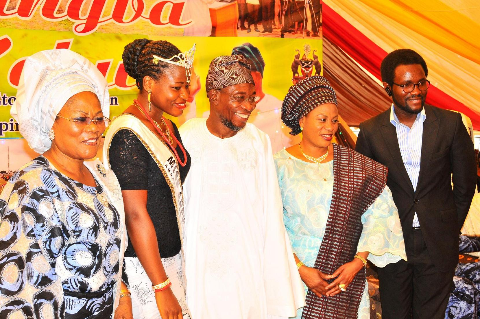 "From left, Deputy Governor State of Osun, Mrs Titi Laoye-Tomori; Winner Arewa Osun, Miss Adiatu Damilola; Governor, Ogbeni Rauf Aregbesola; his wife, Sherifat and Chief Executive Officer, Miss Arewa Beauty Pageant, Mr Oludare Kolade, after words of support for Aregbesola Second Term in office by people of Ijeshaland,  during the 6th edition of an interactive programme tagged, ""Gban-gba Dekun"" in Ijesha South Federal Constituency consisting of Ilesa West, Ilesa East, Atakumosa East and Atakumosa West Local Governments at Ilesa High School, Ilesa, State of Osun last week"