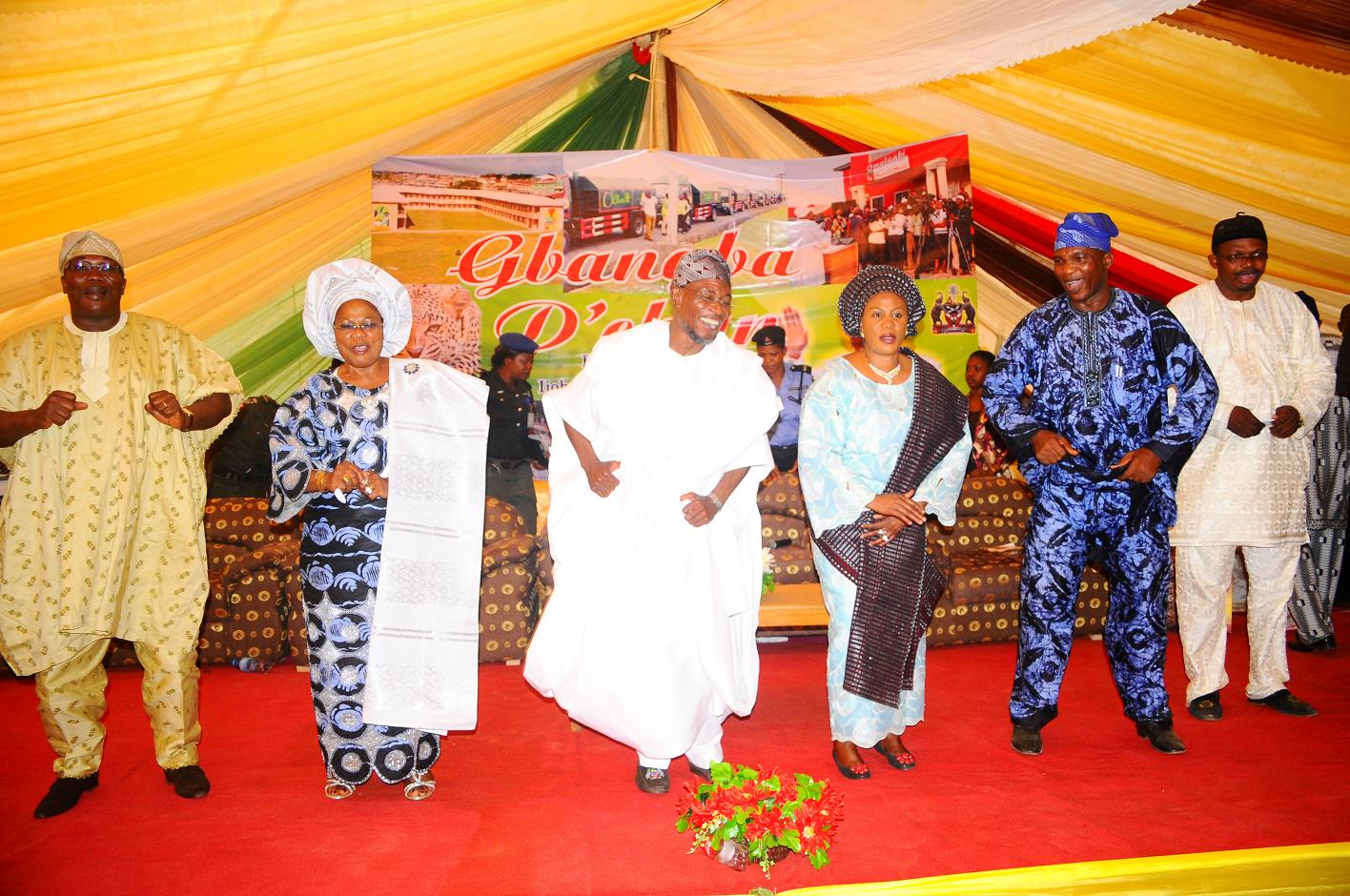 "From left, Speaker State Assembly of Osun, Honourable Najeem Salam; Deputy Governor State of Osun, Mrs Titi Laoye-Tomori; Governor, Ogbeni Rauf Aregbesola; his Wife, Sherifat;  Secretary to the State Government of Osun, Alhaji Moshood Adeoti and Member House of Representatives representing Atakunmosa East/West and Ilesa East/West, Honourable Ajibola Famurewa, after words of support for Aregbesola Second Term in office by people of Ijeshaland, during the 6th edition of an interactive programme tagged, ""Gban-gba Dekun"" in Ijesha South Federal Constituency consisting of Ilesa West, Ilesa East, Atakumosa East and Atakumosa West Local Governments at Ilesa High School, Ilesa, State of Osun last week"