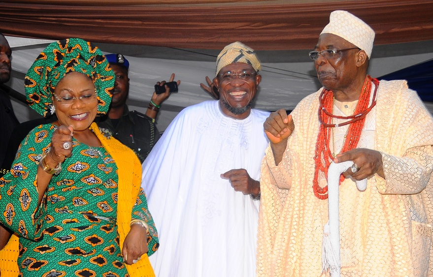 Deputy Governor State of Osun, Mrs Titi Laoye-Tomori; Governor, Ogbeni Rauf Aregbesola and Owa Obokun of Ijesaland, Oba (Dr.) Gabriel Aromolaran, during the 2013 Iwude-Ijesha Festival, at Ereja Square, Ilesa, State of Osun on Saturday 28-12-2013
