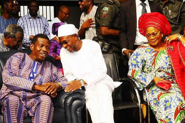 From left, General Overseer, Redeemed Christian Church of God (RCCG), Pastor Enoch Adeboye; Governor State of Osun, Ogbeni Rauf Aregbesola and his Deputy, Mrs Titi Laoye-Tomori, during the Special End of the Year Prayer tagged: 'Lets' go a Fishing at Federal Polytechnic Ede Sport Complex, Ede, the State of Osun on Tuesday 24-12-2013