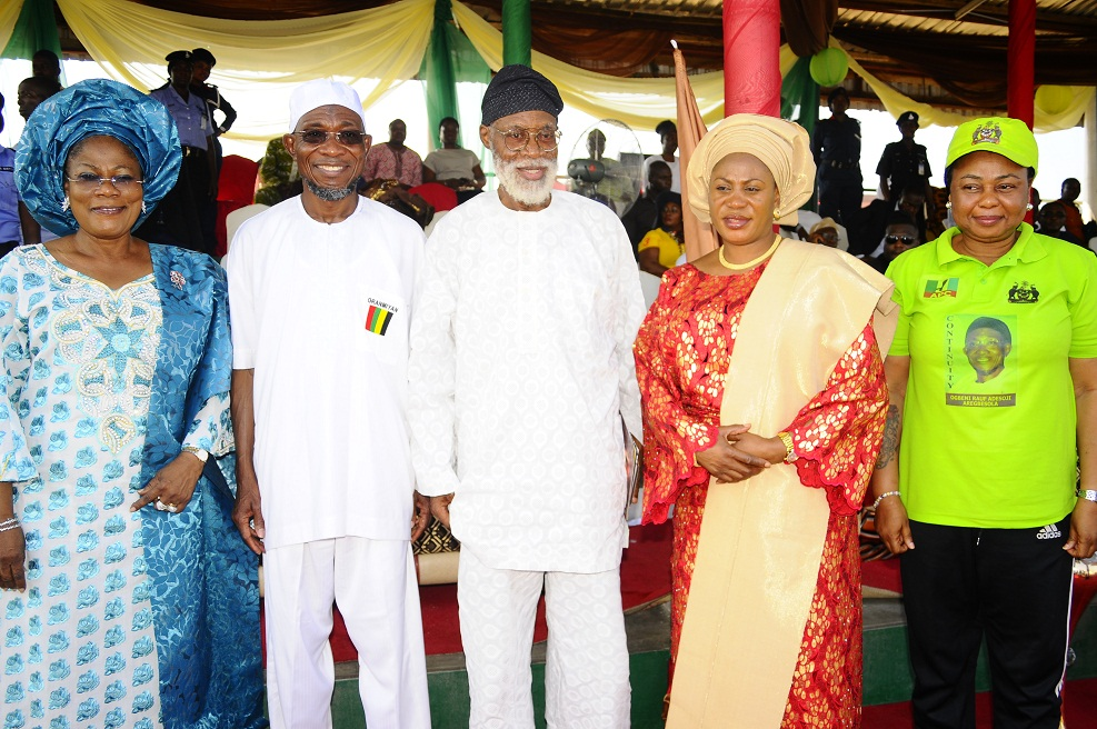 From left, Governor State of Osun, Ogbeni Rauf Aregbesola; his Deputy, Mrs Titi Laoye-Tomori; Renowned Scholar, Writer and Cultural Activist, Professor Akinwumi Ishola; Wife of the governor, Sherifat Aregbesola and a Member House of Representatives representing Ayedaade/Irewole/Isokan Federal Constituency, Alhaja Ayo Omidiran, during the Official Launch of the Club., In commemoration of Aregbesola 3rd year Administration at the National Youth Service Corps ( NYSC)  Orientation Camp Ede, State of Osun at the weekend