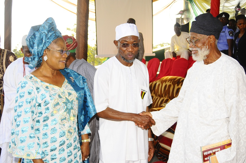 From left, Deputy Governor State of Osun, Mrs Titi Laoye-Tomori; Governor, Ogbeni Rauf Aregbesola and Renowned Scholar, Writer and Cultural Activist, Professor Akinwumi Ishola, during the Official Launching of the Club., In commemoration of Aregbesola 3rd year Administration at the National Youth Service Corps ( NYSC) Orientation Camp Ede, State of Osun at the weekend