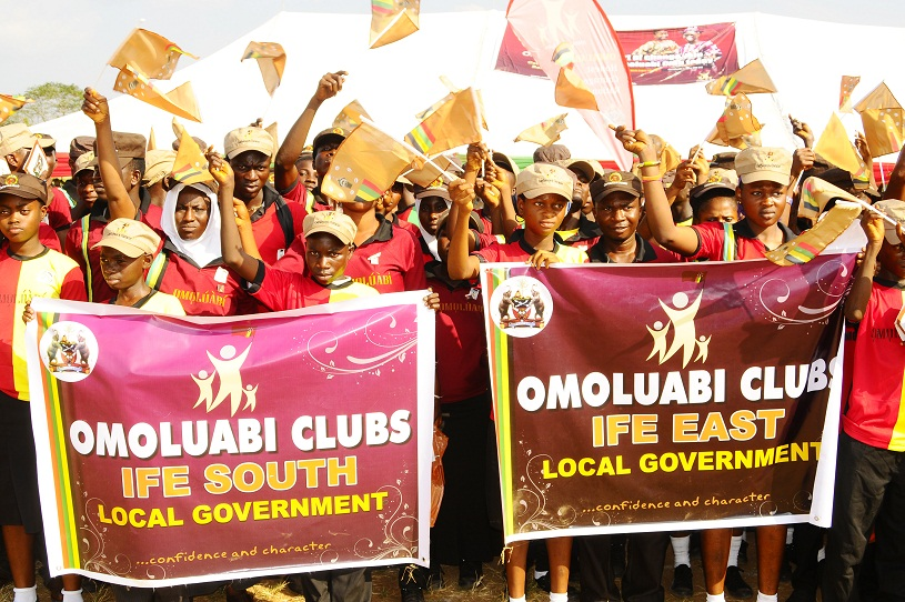 Members of the Newly Launched Omoluabi Boys/Girls Club and Omoluabi Youth Club at the National Youth Service Corps (NYSC) Orientation Camp Ede, In commemoration of Aregbesola 3rd year Administration at the National Youth Service Corps ( NYSC)  Orientation Camp Ede, State of Osun at the weekend