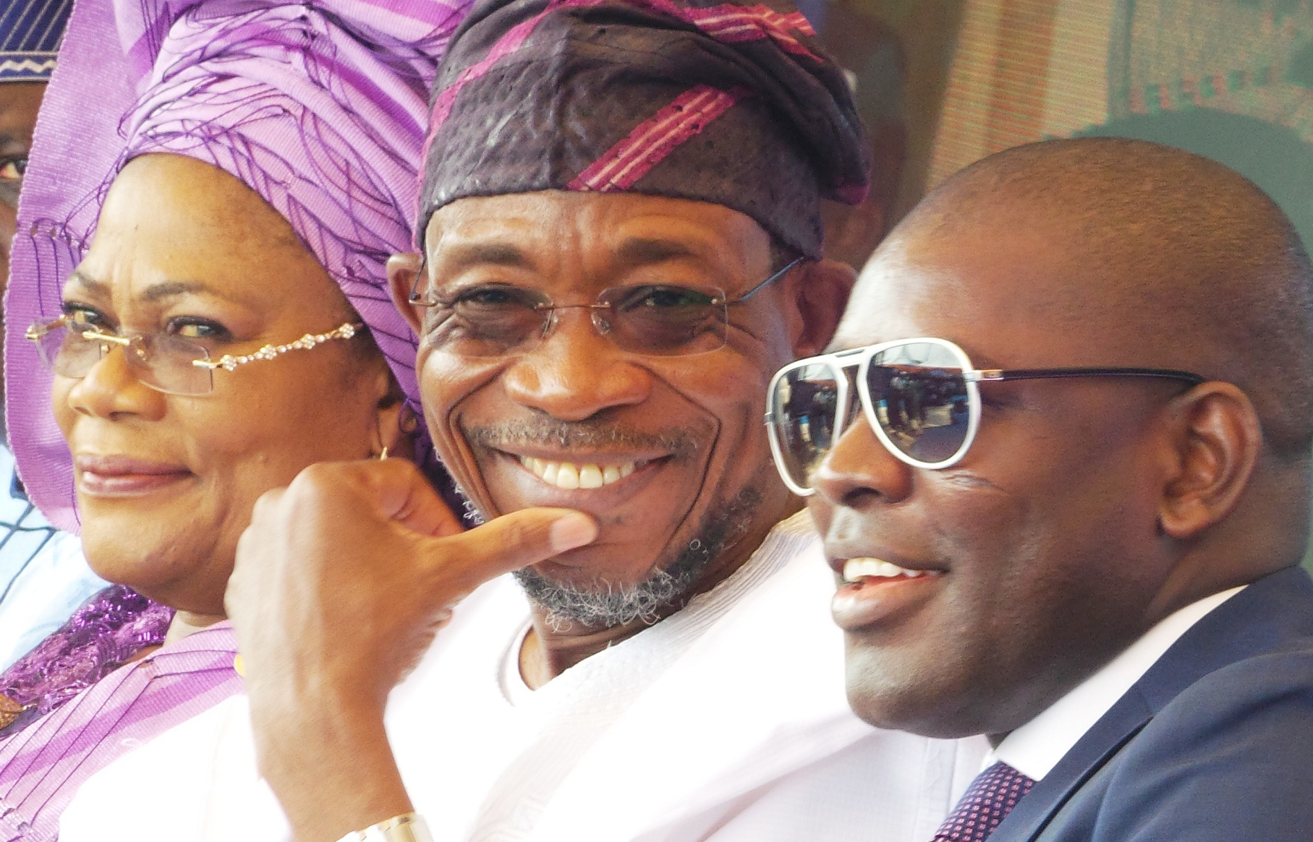 Governor State of Osun,  Ogbeni Rauf Aregbesola;  his Deputy, Mrs Titi Laoye-Tomori and Chairman,  RLG and AGAGAMS Holdings, Ghana, Mr Roland Agambire, during the commissioning of RLG/Adulawo Technology City,  at Ilesa/Akure Express Way, Ilesa, State of Osun, on Thursday 30-01-2014