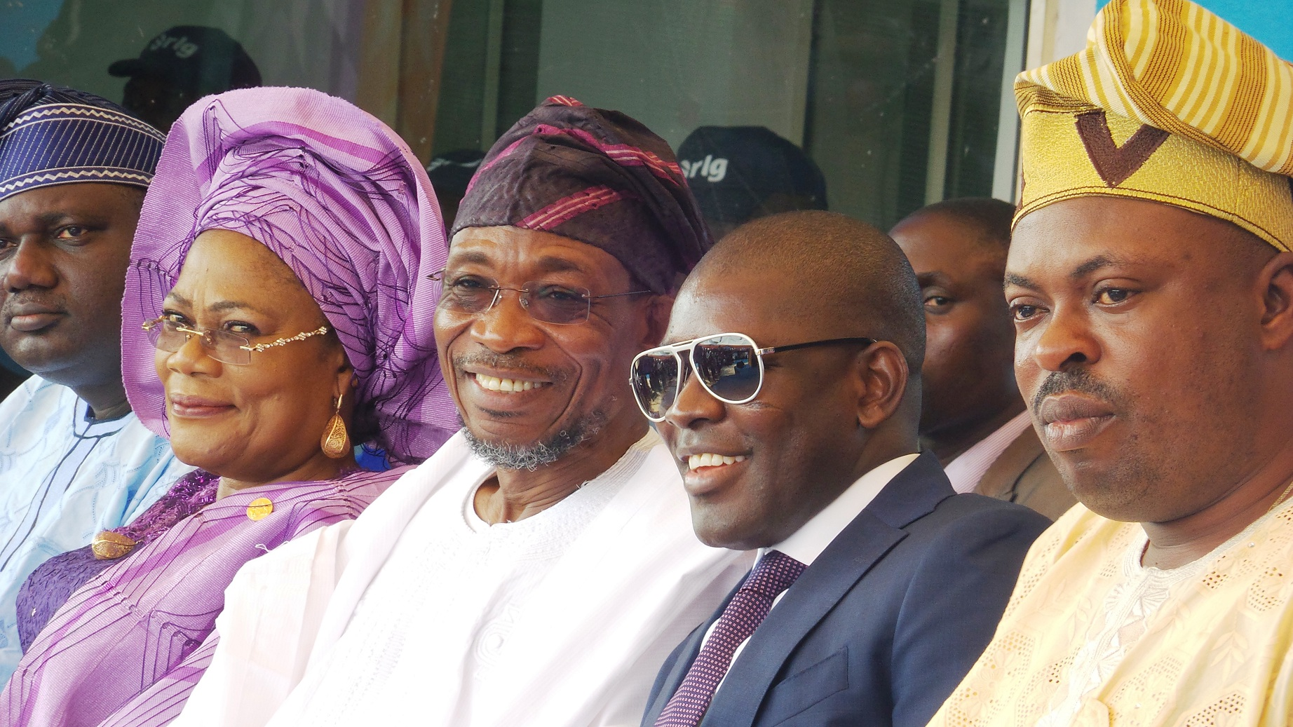 Governor State of Osun,  Ogbeni Rauf Aregbesola;  his Deputy, Mrs Titi Laoye-Tomori; Chairman,  RLG and AGAGAMS Holdings, Ghana, Mr Roland Agambire (2 right);  Acting Chairman, Osun APC, Elder Lowo Adebiyi (left) and Leader of the State House of Assembly in Osun, Hon. Timothy Owoeye, during the commissioning of RLG/Adulawo Technology City,  at Ilesa/Akure Express Way, Ilesa, State of Osun, on Thursday 30 - 01 - 2014