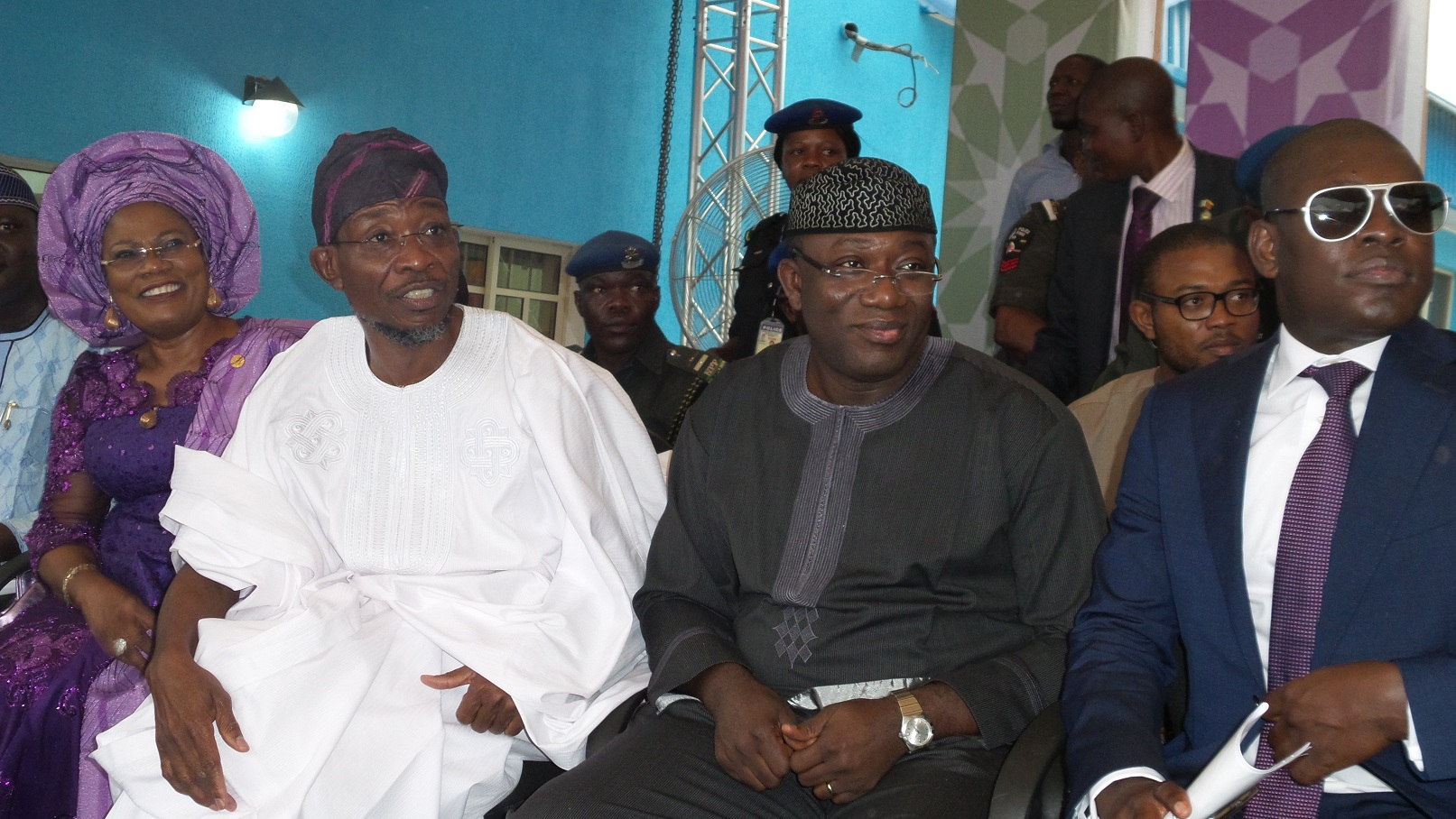 Governor State of Osun,  Ogbeni Rauf Aregbesola;  his Deputy, Mrs Titi Laoye-Tomori; Governor Kayode Fayemi of Ekiti State (2 right) and Chairman,  RLG /AGAGAMS Holdings, Ghana, Mr Roland Agambire, during the commissioning of RLG/Adulawo Technology City,  at Ilesa/Akure Express Way, Ilesa, State of Osun, on Thursday 30-01-2014