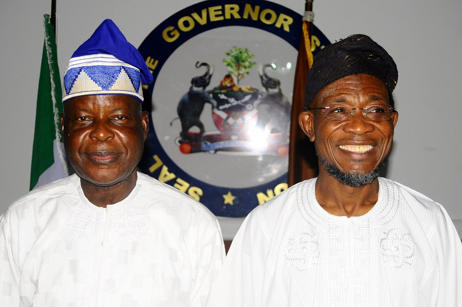 Governor State of Osun, Ogbeni Rauf Aregbesola (right) and Chairman, Police Service Commission, Sir Mike Okiro, during a Courtesy visit to the governor in Government House, Osogbo, State of Osun on Friday 27-12-2013
