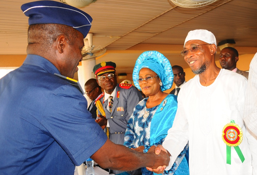 From right, Governor State of Osun, Ogbeni Rauf Aregbesola; his Deputy, Mrs Titi Laoye-Tomori; Deputy Commandant and Chairman, Nigerian Legion Osun Chapter, Colonel Alimi Samotu; Commandant, Air Force Safety Institute, Ipetu-Ijesa, Air Vice Marshal Christopher Gudi and others, during the Launching of Emblem for Year 2014 Armed Forces Remembrance Day Celebration and Fund Raising Appeal Week at Government House, Osogbo, State of Osun on Thursday 09-01-2014