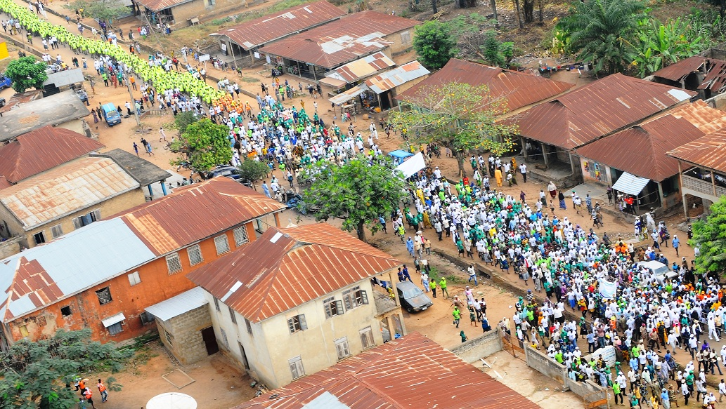 Crowd that participated in the 14th Edition of the Walk to live for Healthy Living Exercise in Ilobu, Irepodun/Orolu State of Osun Constituency on Saturday 18-01-2014