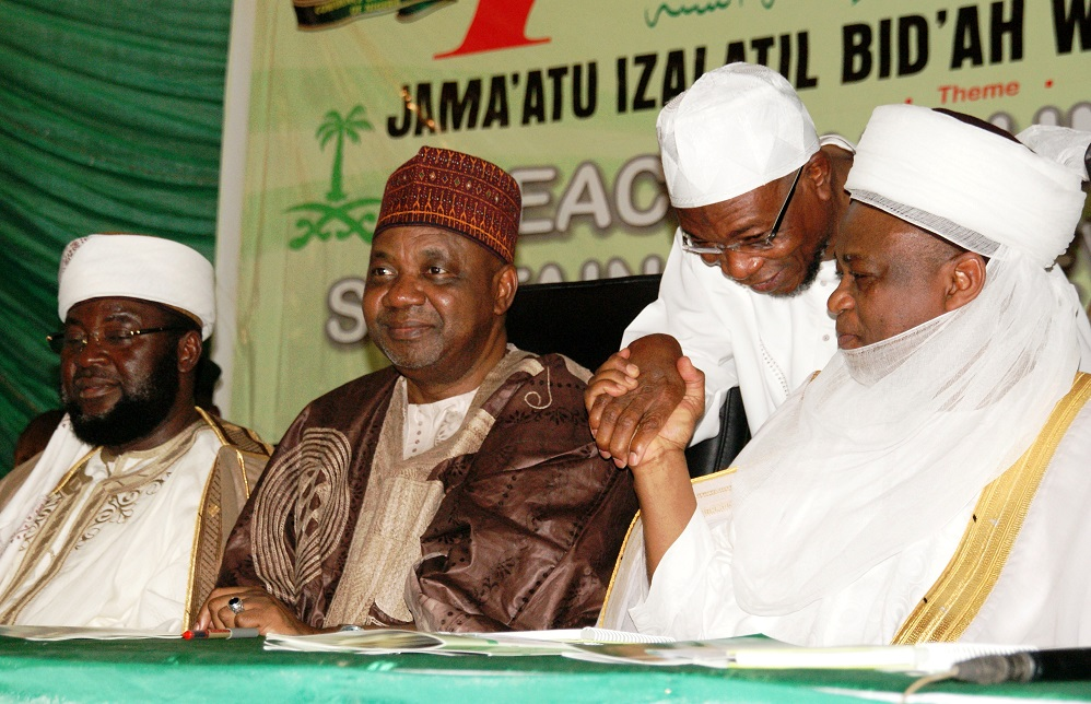 From right, Sultan of Sokoto, Alhaji Sa'ad Abubakar; Governor State of Osun, Ogbeni Rauf Aregbesola; Vice President, Federal Republic of Nigeria, Architect Namadi Sambo and National Chairman, Jama'atu Izalatil Bid'ah wa' Iqamatis Sunnah (JIBWIS) and Conference of Ahlus-Sunnah of Nigeria (COAN), Sheikh Abdullahi Bala Lau, during the Maiden Conference of Ahlus-Sunnah of Nigeria (COAN) at Tafawa Balewa Square, Lagos on Saturday 15-02-2014