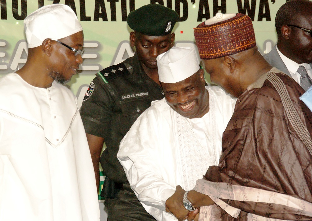 From left, Governor State of Osun, Ogbeni Rauf Aregbesola; Speaker, House of Representatives, Honourable Aminu Tambuwal and Vice President, Federal Republic of Nigeria, Architect Namadi, during the Maiden Conference of Ahlus-Sunnah of Nigeria (COAN) at Tafawa Balewa Square, Lagos on Saturday 15-02-2014