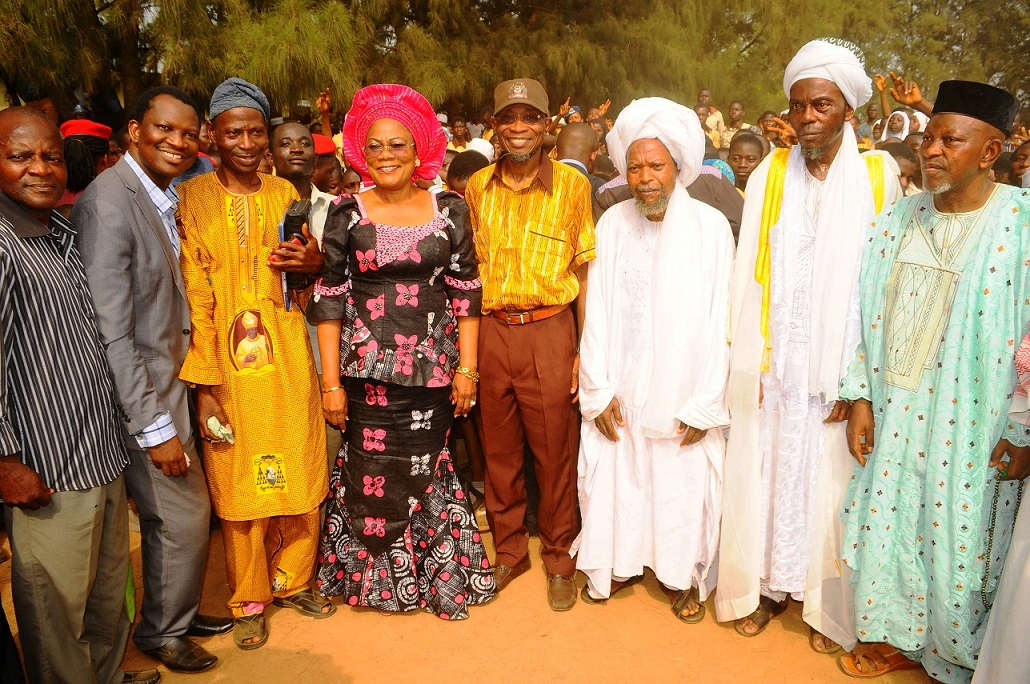 Governor State of Osun, Ogbeni Rauf Aregbesola (4th right); his Deputy, Mrs Titi Laoye-Tomori (4th left); Chairman, Christian Association of Nigeria (CAN), Iwo Chapter, Catechist Paul Olagoke (3rd left); Chief Imam Iwo, Shiekh Mudashir Akinlade (2nd right); Chairman, Christian Council of Nigeria (CCN), Iwo Chapter, Reverend Bayo Ademuyiwa (2nd left); Chairman Isokan Musulumi, Iwo, Sheikh Abdulrasheed Fasasi (3rd right); Secretary CAN, Iwo Chapter, Evangelist Caleb Ayoola (left) and Otun Imam of Iwo, Alhaji Fatai Olododo (right), after a Peace Meeting between Muslim and Christian parents over dress code crisis  in Baptist High School, Iwo, State of Osun