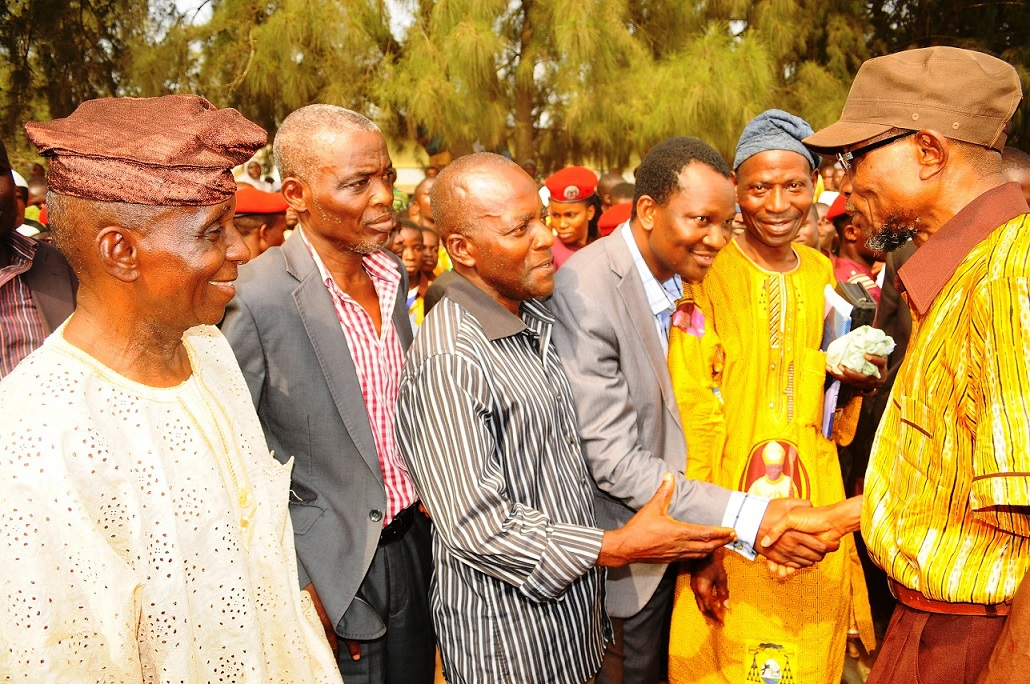 From right, Governor State of Osun, Ogbeni Rauf Aregbesola; Chairman, Christian Association of Nigeria (CAN), Iwo Chapter, Catechist Paul Olagoke; Chairman, Christian Council of Nigeria (CCN), Iwo Chapter, Reverend Bayo Ademuyiwa; Secretary CAN, Iwo Chapter, Evangelist Caleb Ayoola; Christian Education Minister, Osun Baptist Conference, Reverend Bisi Oludamilare and Chairman, Christian Community, Iwo, Dr Deji Ajani,  after a Peace Meeting between Muslim and Christian parents over dress code crisis  in Baptist High School, Iwo, State of Osun