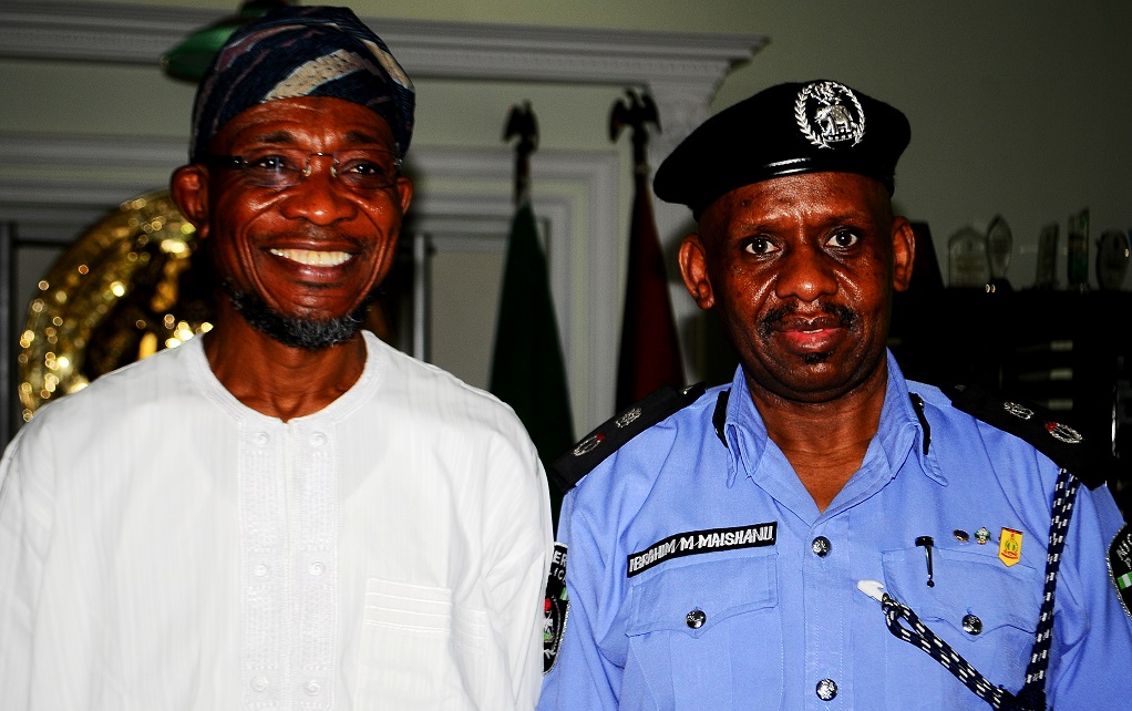 Governor State of Osun, Ogbeni Rauf Aregbesola and newly posted Commissioner of Police to the State, Mr. Ibrahim Maishanu, during a visit to the Governor in his office, Abere, Osogbo, State of Osun on Tuesday 11/02/2014..