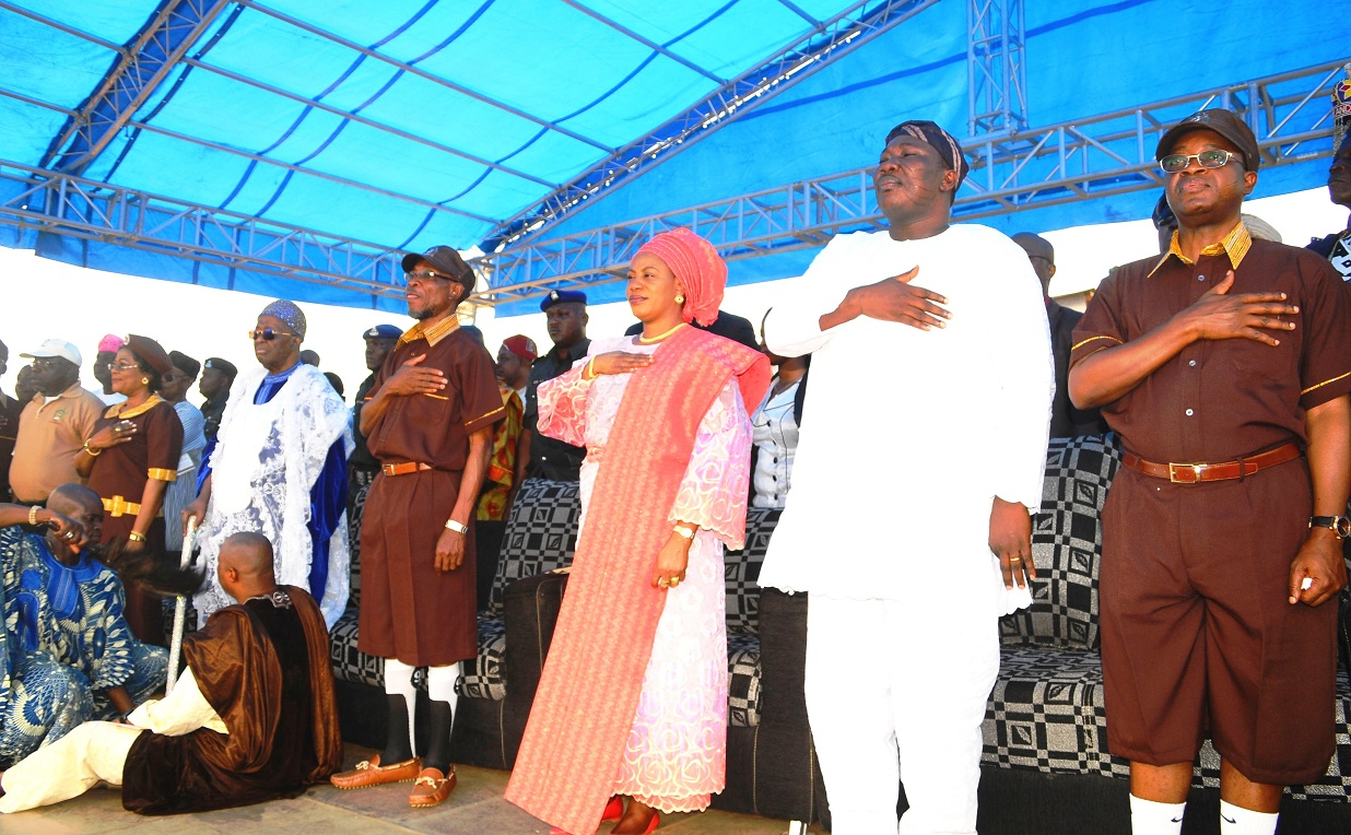 From right, Chief of Staff to the Governor, Mr Gboyega Oyetola; Speaker of the State House of Assembly, Hon. Najeem Salam; Governor Aregbesola's wife, Mrs Sherifa; Governor Rauf Aregbesola; the Ooni of Ife, Oba Okunade Sijuade; deputy Governor, Mrs Titi Laoye-Tomori and Chairman, O-School, Mr. Layi Oyeduntan, during the official commissioning of Baptist Central Elementary School in Ilare, Ile-Ife, the State of Osun on Tuesday 18-02-2014