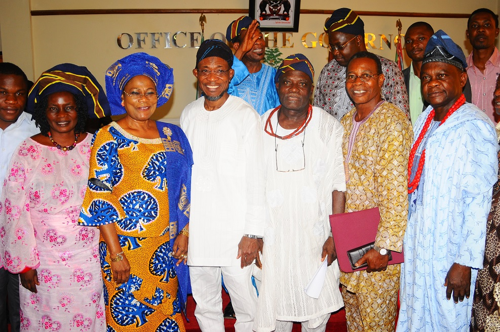 Governor State of Osun, Ogbeni Rauf Aregbesola (4th right); his Deputy, Mrs Titi Laoye-Tomori (3rd left); National Vice President, Ilesa Grammar School Old Students Association, Oba Adedoyin Adelekun (3rd right); National Treasurer of the Association, Oba Bode Pariola (right); Financial Secretary, Pastor Lase Odeyemi (2nd right) and others, during a Courtesy Visit to the Governor as part of activities to Commemorate the 80th Anniversary of the School at the Governor's office, Osogbo, State of Osun on Wednesday 05-02-2014