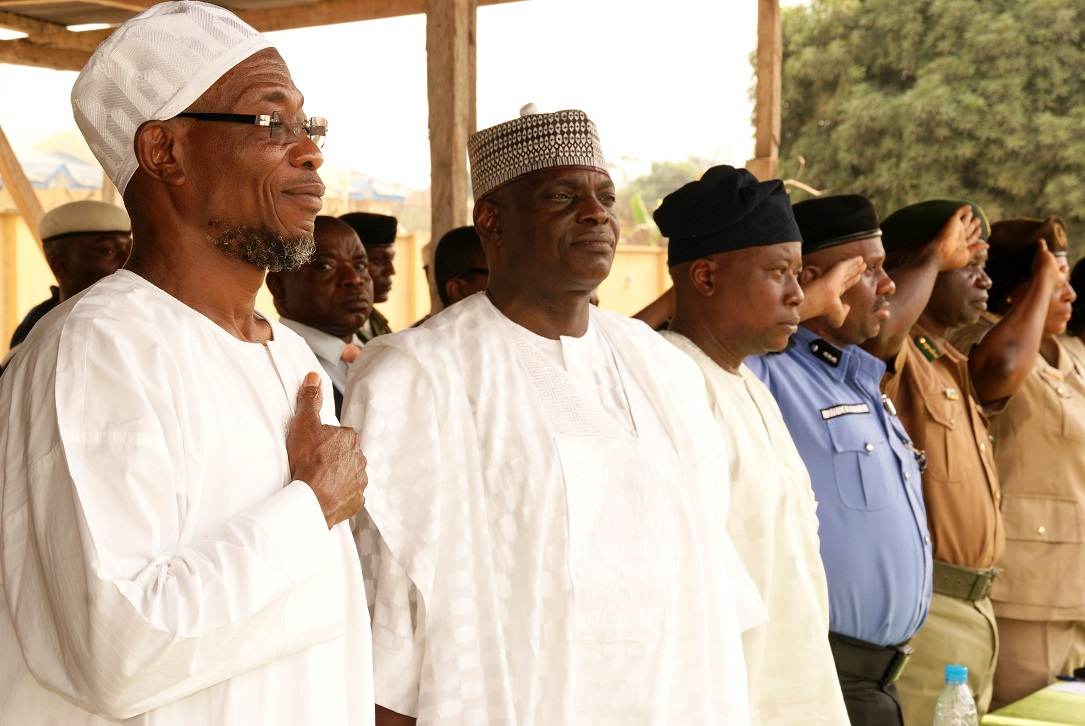 From left, Governor State of Osun, Ogbeni Rauf Aregbesola; Outgoing State Director, Security (SDS), Mr. Joshua Yakubu; Commandant Engineering Construction Regiment (ECR), Ede, Brigadier General Gbenga Adeyemi; Commissioner for Police, Osun Command, Mr Ibrahim Maishanu and others, during the Send-forth Ceremony for the Outgoing SDS in Osogbo, State of Osun