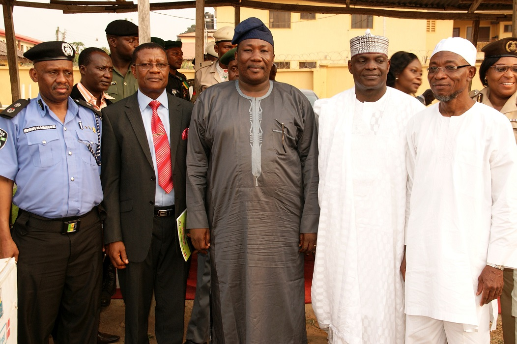 From left, Governor State of Osun, Ogbeni Rauf Aregbesola; Outgoing State Director, Security (SDS), Mr. Joshua Yakubu; Speaker, State of Osun House of Assembly, Honourable Najeem Salaam; Incoming SDS, Mr. Andrew Iorkyar and Commissioner for Police, Osun Command, Mr Ibrahim Maishanu, during the Send-forth Ceremony for the Outgoing SDS in Osogbo, State of Osun
