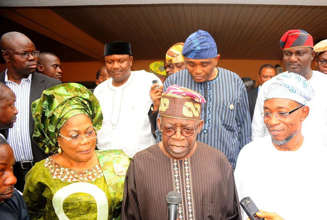 National Leader, All Progressives Congress (APC), Asiwaju Bola Ahmed Tinubu (2nd right); Governor State of Osun, Ogbeni Rauf Aregbesola (right); his Deputy, Mrs Titi Laoye-Tomori; Interim Chairman Osun APC, Elder Adelowo Adebiyi (2nd row-right); Interim Secretary, Osun APC, Prince Gboyega Famodun (2nd row- 2nd left); Director General, Bureau of Social Services (BOSS), Mr Femi Ifaturoti (2nd row-right); Director, Bureau of Communications and Strategy, Mr Semiu Okanlawon (2nd row-left) and others, during the APC National Leader's Peace Meeting with South West CAN in Osogbo, State of Osun on Wednesday 12-02-2014