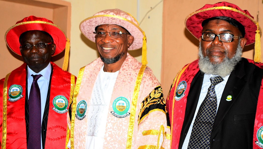Governor State of Osun, Ogbeni Rauf Aregbesola (middle); Pro-Chancellor and Chairman of Council Osun State University, Osogbo, Professor Gabriel Adesiyan Olawoyin (2nd left) and Vice - Chancellor, Professor Adekunle Bashiru(right) during the 3rd Convocation for the Conferment of First Degrees and Award of Prizes at Osun State University, Osogbo on  Saturday 29/03/2014.