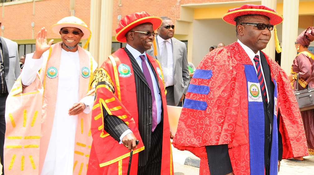 Governor State of Osun, Ogbeni Rauf Aregbesola (left); Pro-Chancellor and Chairman of Council Osun State University, Osogbo, Professor Gabriel Adesiyan Olawoyin(2nd left) and Former Vice - Chancellor, Professor, Adebisi Balogun(right) during the 3rd Convocation for the Conferment of First Degrees and Award of Prizes at Osun State University, Osogbo on  Saturday 29/03/2014.