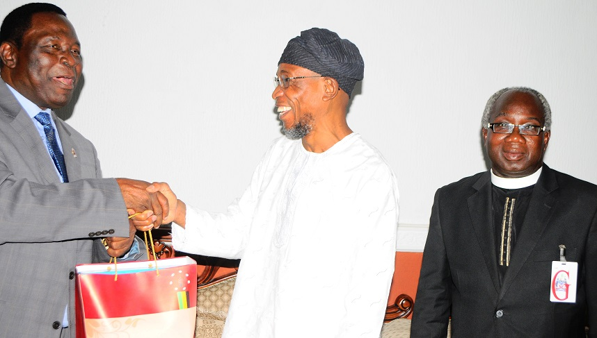 Governor State of Osun, Ogbeni Rauf Aregbesola(middle); National President the Apostolic Church Nigeria/Territorial Chairman, Pastor Gabriel Olutola (left) and Pastor James Soude during a courtesy visit to the Governor Osun, at Government House, Osogbo, at the weekend