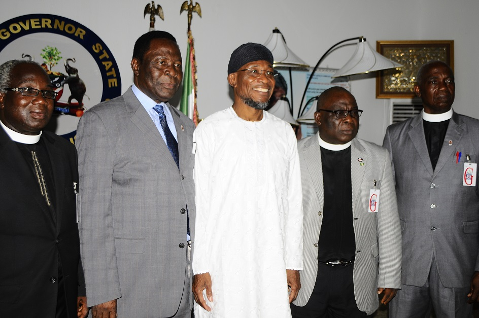 Governor State of Osun, Ogbeni Rauf Aregbesola(3rd right); National President the Apostolic Church Nigeria/ Territorial Chairman, Pastor Gabriel Olutola(2nd left), Pastor James Soude(left)Osogbo Area Superintendent, Pastor Paul Usman(2nd right) and Oke Igboji Area Superintendent Ilesa, Pastor Ogundele Isaac(right) during a courtesy visit to the Governor Osun, at Government House, Osogbo, at the weekend