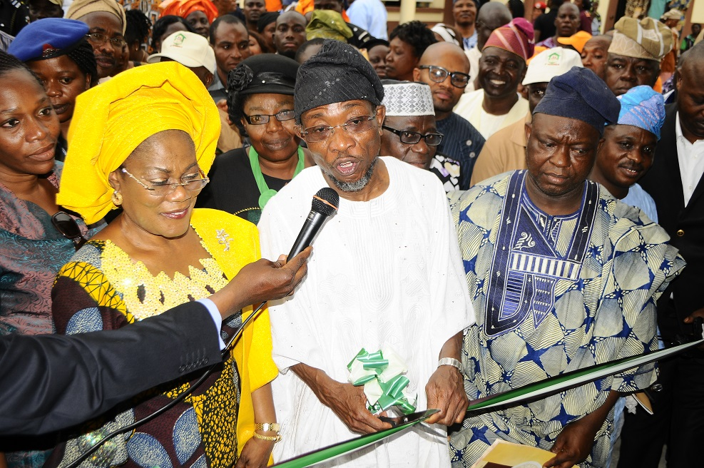Governor State of Osun, Ogbeni Rauf Aregbesola (3rd left); his Deputy, Mrs Titi Laoye-Tomori (2nd left); Deputy Speaker, State House of Assembly of Osun, Honourable Akintunde Adegboye (2nd left) and others, during the commissioning of Ansar-Ul-Deen (AUD) Government Elementary School in Isale-Osun, Osogbo, State of Osun on Thursday 13-03-2014