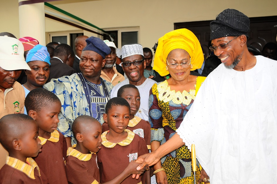 From right, Governor State of Osun, Ogbeni Rauf Aregbesola; his Deputy, Mrs Titi Laoye-Tomori; Chairman, State Universal Basic Education Board (SUBEB), Prince Felic Awofisayo; Deputy Speaker, State House of Assembly of Osun, Honourable Akintunde Adegboye and others, during the commissioning of Ansar-Ul-Deen (AUD) Government Elementary School in Isale-Osun, Osogbo, State of Osun on Thursday 13-03-2014