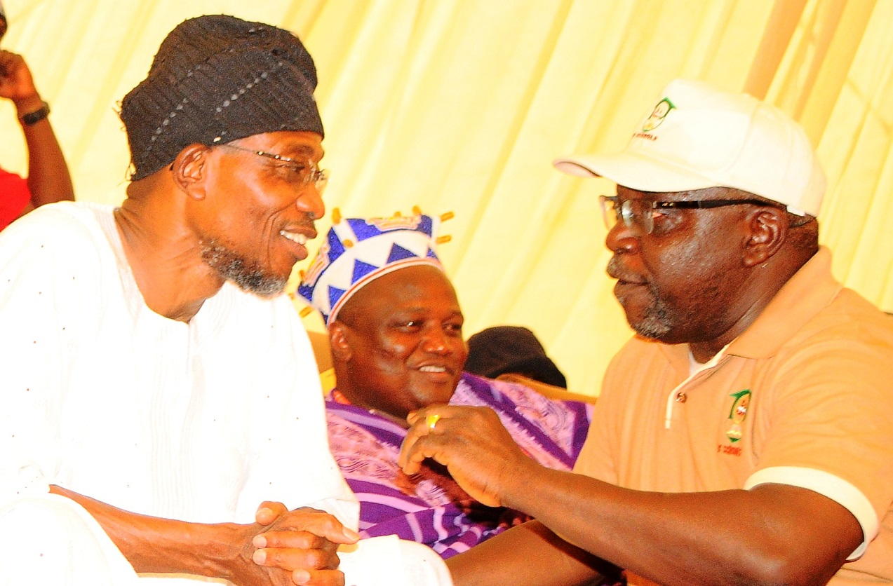 From left, Governor State of Osun, Ogbeni Rauf Aregbesola; Ataoja of Osogboland, Oba Jimoh Olanipekun and Chairman, Osun School Infrastructure Committee (O'School), Otunba Lai Oyeduntan, during the commissioning of Ansar-Ul-Deen (AUD) Government Elementary School in Isale-Osun, Osogbo, State of Osun on Thursday 13-03-2014
