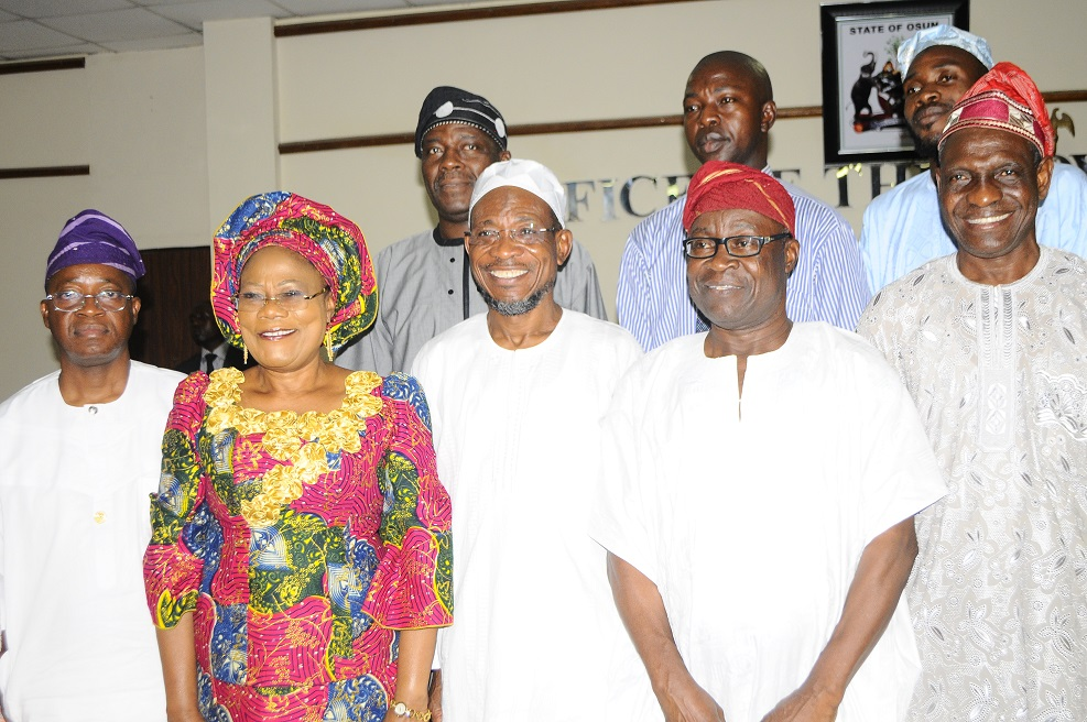 Governor State of Osun, Ogbeni Rauf Aregbesola  (centre); his Deputy, Mrs Titi Laoye-Tomori (2nd left); Chief of Staff to the Governor, Alhaji Gboyega Oyetola (left); Chairman, Special Committee on Religious Disturbance at Baptist High School, Iwo, Chief Morenikeji Adedeji (2nd right); Member of the committee, Alhaji Bashir Adebola (right) and others, during the Submission of the Six man committee reports to the Governor in Osogbo on Monday 17-03-2014
