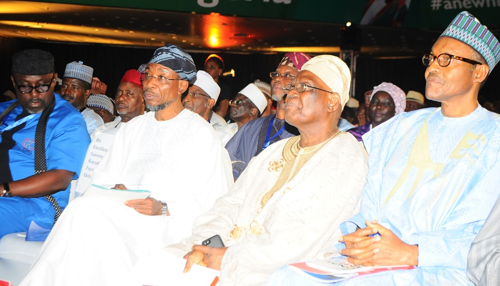 Governor State of Osun, Ogbeni Rauf Aregbesola(2nd left);Chairman All Progressive Congress (APC), Adebisi Akande(2nd right), Former Head of State, Federal Republic of Nigeria, General Muhammadu Buhari (right) and Imo State Governor, Rochas Okorocha during the National Summit of All Progressive Congress (APC),  at congress Hall, Transcorp  Hillton Hotel, Abuja on Thursday 6/03/2013.